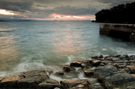 rought sea and sunset in Milina, Pelion, after a storm