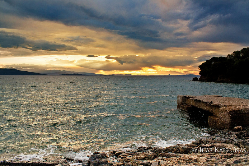 Sunset in Milina, Sipias, Pelion, a rough sea a cloudy sky and emotions
