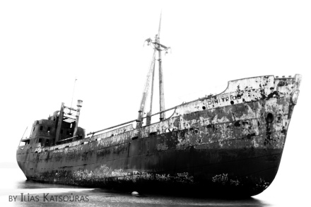 the shipwreck of Dimitrios in Githeio (Gytheio), Mani. The black and white (bw) ship and the drama